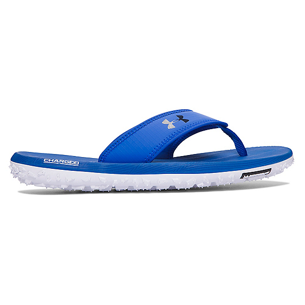 Under Armour Fat Tire Mens Flip Flops, White-Midnight Navy-Ultra Blue, 600