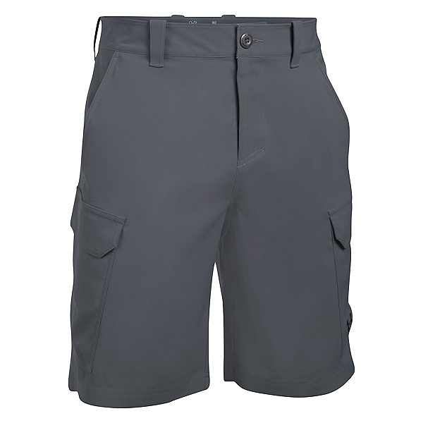 Under Armour Fish Hunter Cargo Mens Shorts, Rhino Gray-Black, 600