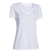 Under Armour Tech Solid V-Neck Womens T-Shirt, White-Metallic Silver, medium