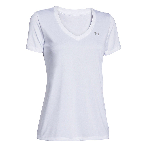 Under Armour Tech Solid V-Neck Womens T-Shirt, White-Metallic Silver, 600