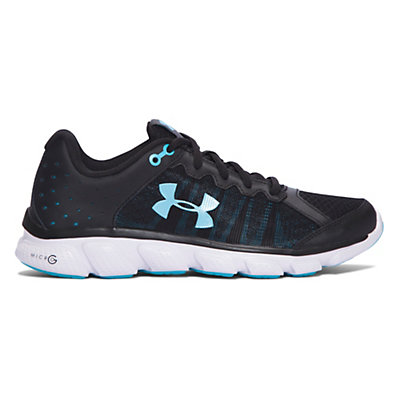 Under Armour Micro G Assert 6 Womens Athletic Shoes, Black-White-Venetian Blue, viewer