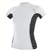 O'Neill Side Print Short Sleeve Crew Womens Rash Guard, White-Coastal-Black, medium