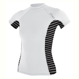O'Neill Side Print Short Sleeve Crew Womens Rash Guard, White-Coastal-Black, 256