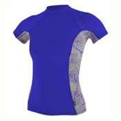 O'Neill Side Print Short Sleeve Crew Womens Rash Guard, Tahitian Blue-Batika-Tahitian, medium
