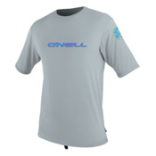 O'Neill Skins Graphic Short Sleeve Mens Rash Guard, Cool Grey, medium