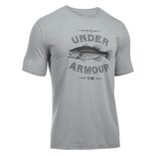 Under Armour Classic Bass Mens T-Shirt, True Gray Heather-Artillery Green, medium