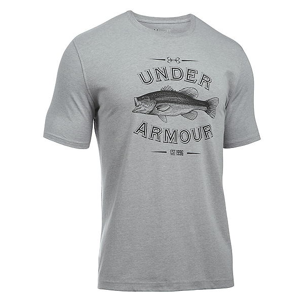 Under Armour Classic Bass Mens T-Shirt, True Gray Heather-Artillery Green, 600