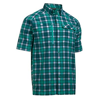 Under Armour Fish Hunter Short Sleeve Plaid Mens Shirt, Absinthe Green-Turquoise Sky, viewer