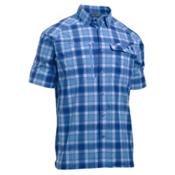 Under Armour Fish Hunter Short Sleeve Plaid Mens Shirt, Carolina Blue-Blackout Navy, medium