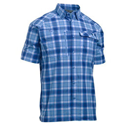 Under Armour Fish Hunter Short Sleeve Plaid Mens Shirt, Carolina Blue-Blackout Navy, 256