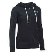 Under Armour Favorite Fleece Full Zip Womens Hoodie, Black-White-White, medium