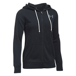 Under Armour Favorite Fleece Full Zip Womens Hoodie, Black-White-White, 256