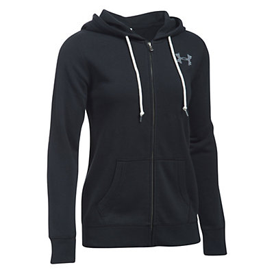 Under Armour Favorite Fleece Full Zip Womens Hoodie, Black-White-White, viewer