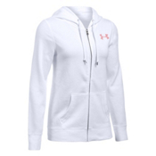Under Armour Favorite Fleece Full Zip Womens Hoodie, White-Pomegranate-Pomegranate, medium