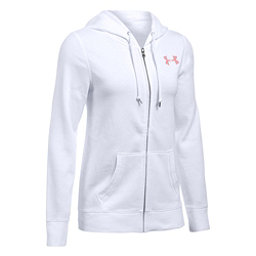 Under Armour Favorite Fleece Full Zip Womens Hoodie, White-Pomegranate-Pomegranate, 256