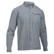 Under Armour Fish Hunter Long Sleeve Solid Mens Shirt, Steel-Rhino Gray, medium