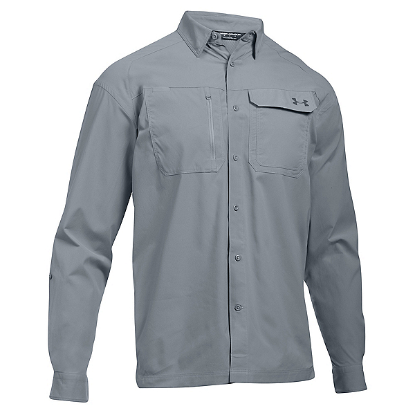 Under Armour Fish Hunter Long Sleeve Solid Mens Shirt, Steel-Rhino Gray, 600