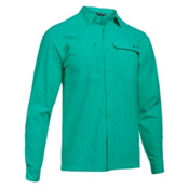 Under Armour Fish Hunter Long Sleeve Solid Mens Shirt, Absinthe Green-Turquoise Sky, medium