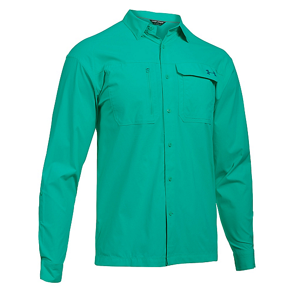 Under Armour Fish Hunter Long Sleeve Solid Mens Shirt, Absinthe Green-Turquoise Sky, 600