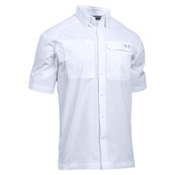 Under Armour Fish Hunter Short Sleeve Solid Mens Shirt, White-Steel, medium