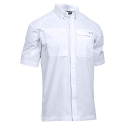 Under Armour Fish Hunter Short Sleeve Solid Mens Shirt, White-Steel, 256
