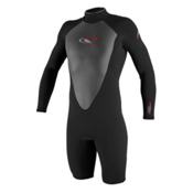 O'Neill Hammer Long Sleeve Spring Shorty Wetsuit 2017, Black-Black-Black, medium