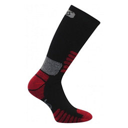 Euro Sock Nordic Womens Ski Socks, Black-Red, 256