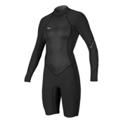 O'Neill Bahia Long Sleeve Womens Shorty Wetsuit 2017, Black-Black-Black, medium
