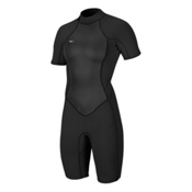 O'Neill Bahia Short Sleeve Spring Womens Shorty Wetsuit 2017, Black-Black-Black, medium