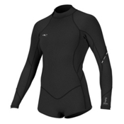 O'Neill Bahia Long Sleeve Spring Womens Shorty Wetsuit 2017, Black-Black-Black, medium