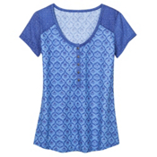 KUHL Kortina Short Sleeve Henley Womens Shirt, Vista Blue, medium