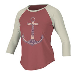 O'Neill Graphic Long Sleeve 3/4 Womens Rash Guard, Mesa Rose-Vanilla-Mesa Rose, 256