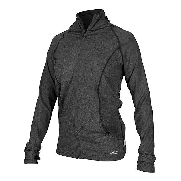 O'Neill Hybrid Zip Mock Jacket Womens Rash Guard, Graphite, 600