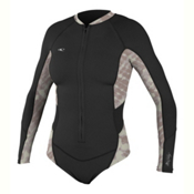 O'Neill Superlite Hi-Cut Spring Womens Rash Guard, Black-Vida-Black, medium