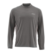 Simms SolarFlex Long Sleeve Solid Crew Mens Shirt, Pewter, medium