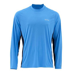 Simms SolarFlex Long Sleeve Solid Crew Mens Shirt, Harbor Blue, 256