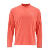 Simms SolarFlex Long Sleeve Solid Crew Mens Shirt, Dark Coral, medium