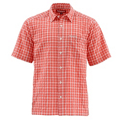 Simms Morada Short Sleeve Mens Shirt, Dark Coral Plaid, medium