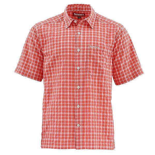 Simms Morada Short Sleeve Mens Shirt, Dark Coral Plaid, 600