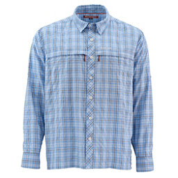 Simms Stone Cold Long Sleeve Mens Shirt, Harbor Blue Plaid, 256