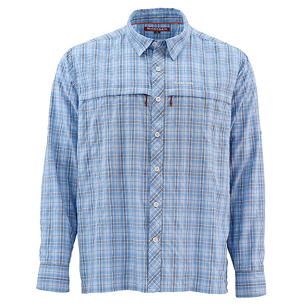 Simms Stone Cold Long Sleeve Mens Shirt, Harbor Blue Plaid, 600
