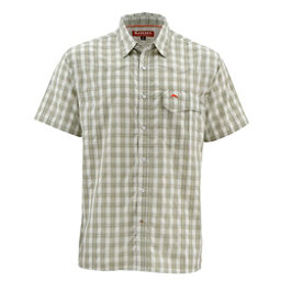 Simms Big Sky Short Sleeve Mens Shirt, Dark Khaki Plaid, 256