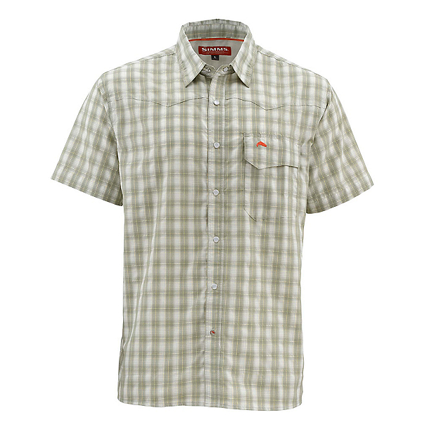 Simms Big Sky Short Sleeve Mens Shirt, Dark Khaki Plaid, 600
