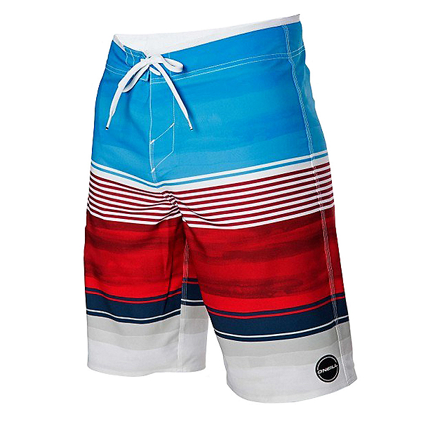 O'Neill Hyperfreak Heist Mens Board Shorts, Red-White-Blue, 600