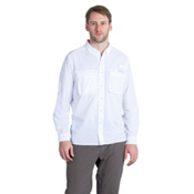 ExOfficio Air Strip Long Sleeve Mens Shirt, White, medium