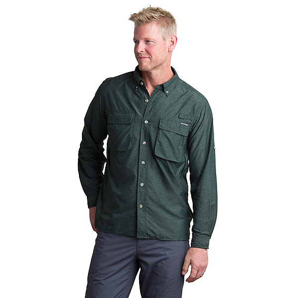 ExOfficio Air Strip Long Sleeve Mens Shirt, Deep Forest, 600