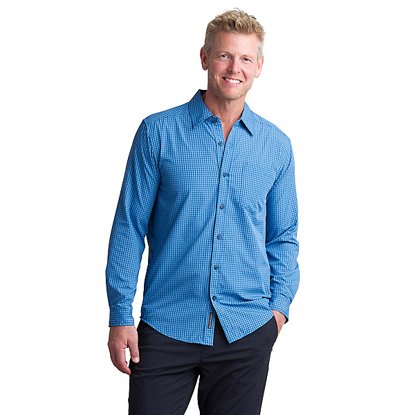 ExOfficio Salida Plaid Shirt Long Sleeve Mens Shirt, Deep Water, 600