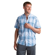ExOfficio Sol Cool Leman Plaid Short Sleeve Mens Shirt, Deep Water, medium