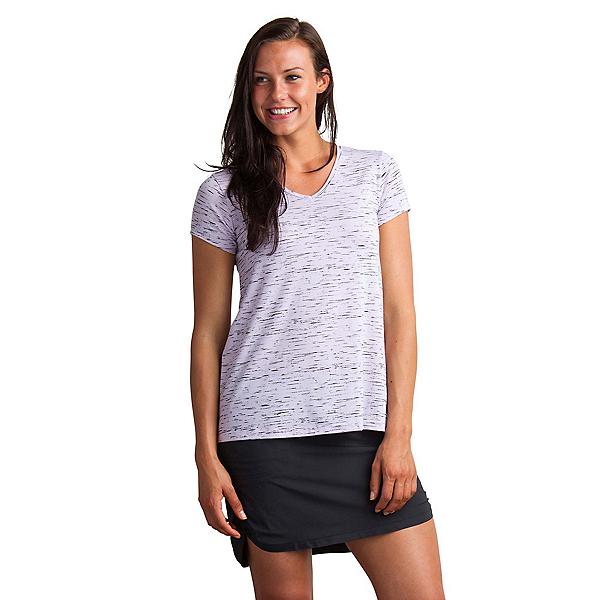 ExOfficio Wanderlux V-Neck Short Sleeve Womens Shirt, Pale Lilac Marl, 600