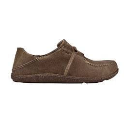 OluKai Honua Leather Mens Shoes, Ecru-Ecru, 256